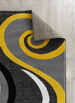 Amazon Com Golden Rugs Modern Area Rug Swirls Carpet