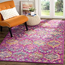 Safavieh Madison Collection MAD144F Fuchsia Pink and Blue Bohemian Chic Damask Area Rug (3' x 5')