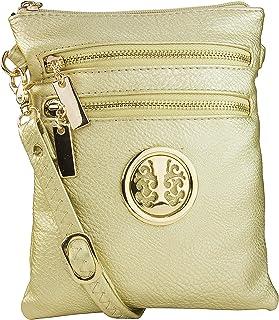Mia K. Farrow MKF Collection Womans Crossbody Bag Multi Zipper Travel Shoulder Messenger Purse