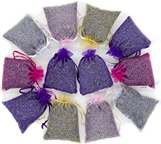 D'vine Dev 15 Mix Color Lavender Sachets Filled with French Lavender Flower Buds - Natural Deodorizer - Premium Ultra Blue Lavender Flower Buds - by Lavande Sur Terre