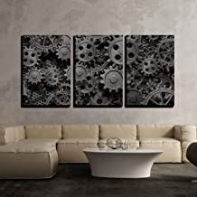 wall26 - 3 Piece Canvas Wall Art - Vector - Seamles Pattern of Black and White Circles with Drop Shadows Illustration - Modern Home Decor Stretched and Framed Ready to Hang - 24