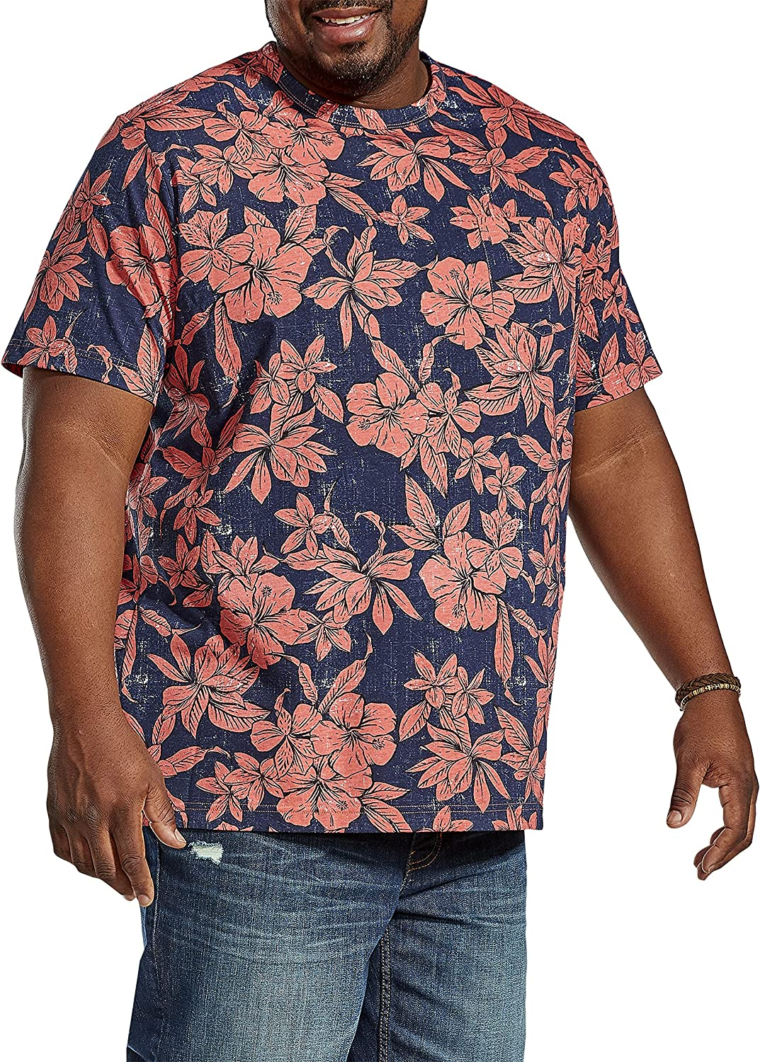 Harbor Bay by DXL Big and Tall Floral Print Pocket Tee, Blue Multi