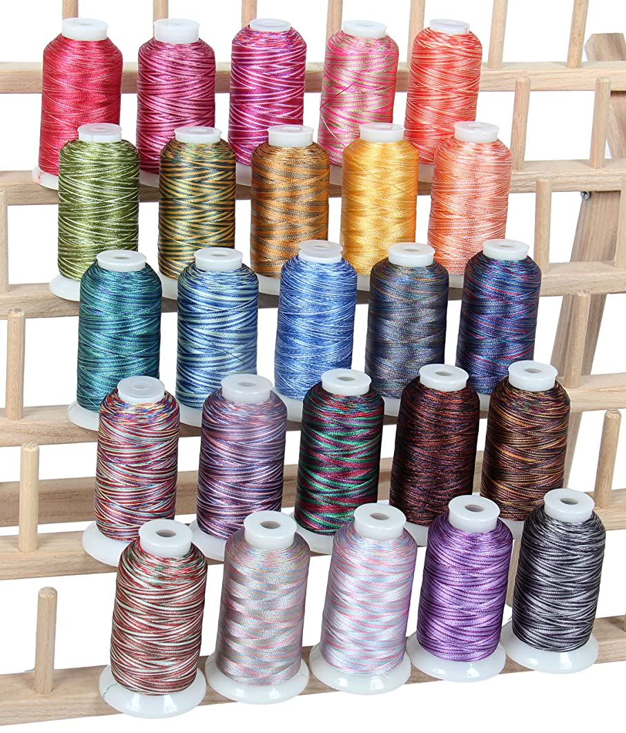25 Color Set of Multicolor Polyester Thread for Quilting and Embroidery - 1000 Meter Spools