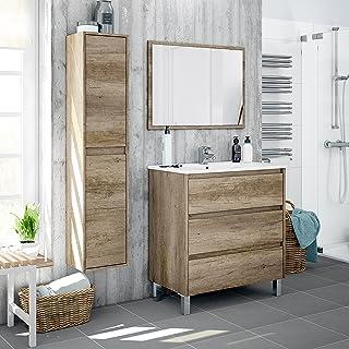 Miroytengo Lote mobiliario baño con Mueble de 3 cajones,