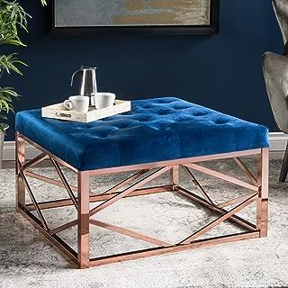 Christopher Knight Home Talia Modern Glam Tufted Navy Blue Velvet Ottoman, Rose Gold