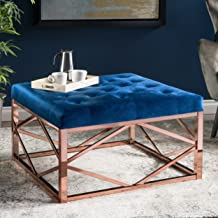 Christopher Knight Home Talia Modern Glam Tufted Navy Blue Velvet Ottoman, Rose Gold