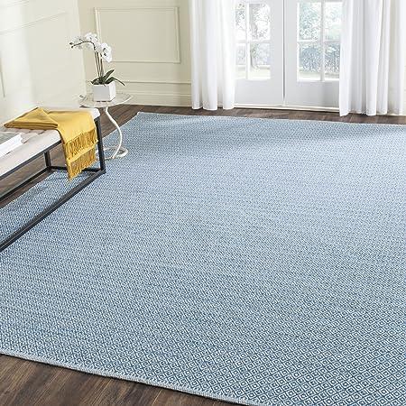 Safavieh Montauk Collection Mtk717c Handmade Cotton Area Rug 6 X 6 Square Ivory Blue Furniture Decor