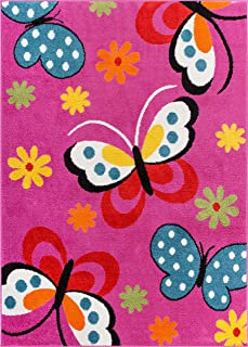 Well Woven StarBright Daisy Butterflies Modern Abstract Pink 3'3