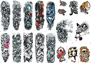 Nutrition Bizz Extra Large Temporary Tattoos Full Half Arm Tattoo Sleeves 18 Sheets for Men Women Teen Fake Tattoo Biker T...