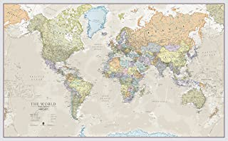 Maps International Giant World Map - Classic World Map Poster - Laminated – 77.5 x 46