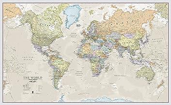 Maps International - Mapa del mundo gigante, póster clásico con el mapa del mundo, plastificado - 197 x 116,5 cm – Colores clásicos