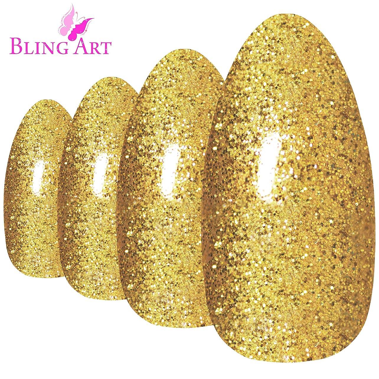 起業家パラナ川出発するBling Art Almond False Nails Fake Stiletto Gel Gold Glitter 24 Long Tips Glue