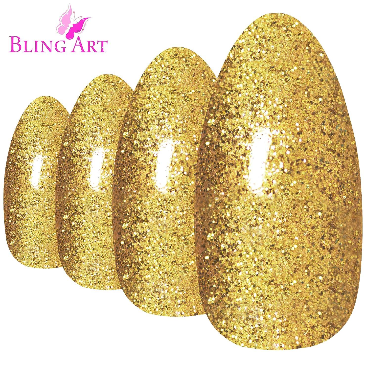 財政怠けた鬼ごっこBling Art Almond False Nails Fake Stiletto Gel Gold Glitter 24 Long Tips Glue
