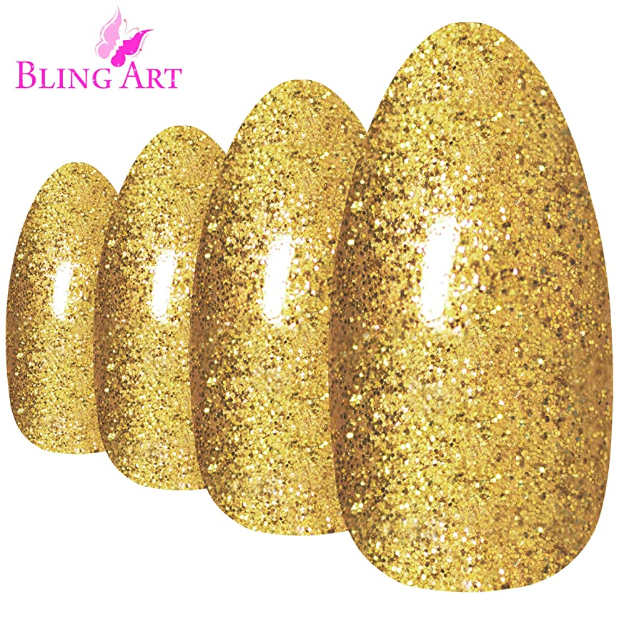 彫る暴君斧Bling Art Almond False Nails Fake Stiletto Gel Gold Glitter 24 Long Tips Glue