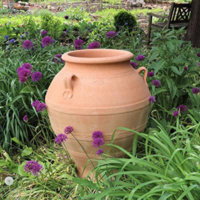 Kreta-Keramik mediterrane Terracotta ánfora, resistente a las heladas, hecha a mano, jardín exterior Deko 35-100 cm: Amazon.es: Jardín