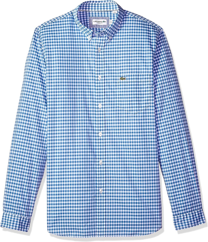 "Lacoste S 3 38 Pale Blue Gingham Doucin Check Shirt SS 15/"" BNWT  100/% Authentic"