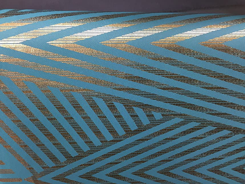 Mesh Stretch Fabric Tropic (Horizion Blue) Color with Gold Lurex zig zag Design ~ 3 Yds~ 58