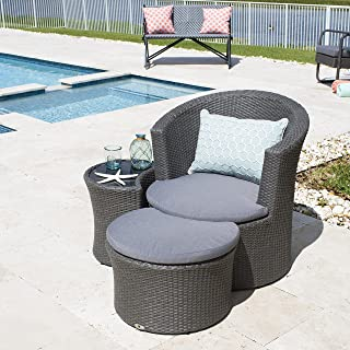 Inside Out by Mix Synthetic Wicker Rattan Black Tint Glass Grey Outdoor Dining Three Piece Set with Cushions