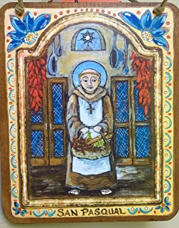 foodie gift for chef Kitchen saint San Pasqual Retablo gift for all things foodie chef baker Mom Cook patron saint of chefs 5 x 6 inch yellow blue red icon