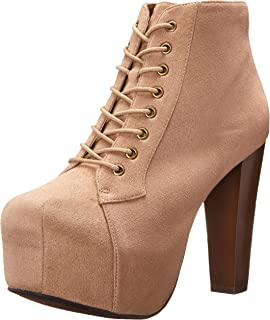 Womens Rosa Chunky High Heel Lace Up Ankle Boot Bootie