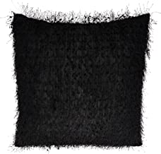 """SARO LIFESTYLE Arabella Design Shaggy Shimmer Throw Pillow With Poly Filling, 18"""", Black"""