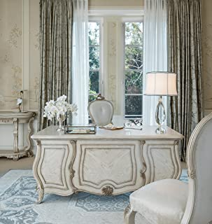 French Provincial Platine de Royale Executive Desk by Michael Amini in Champagne