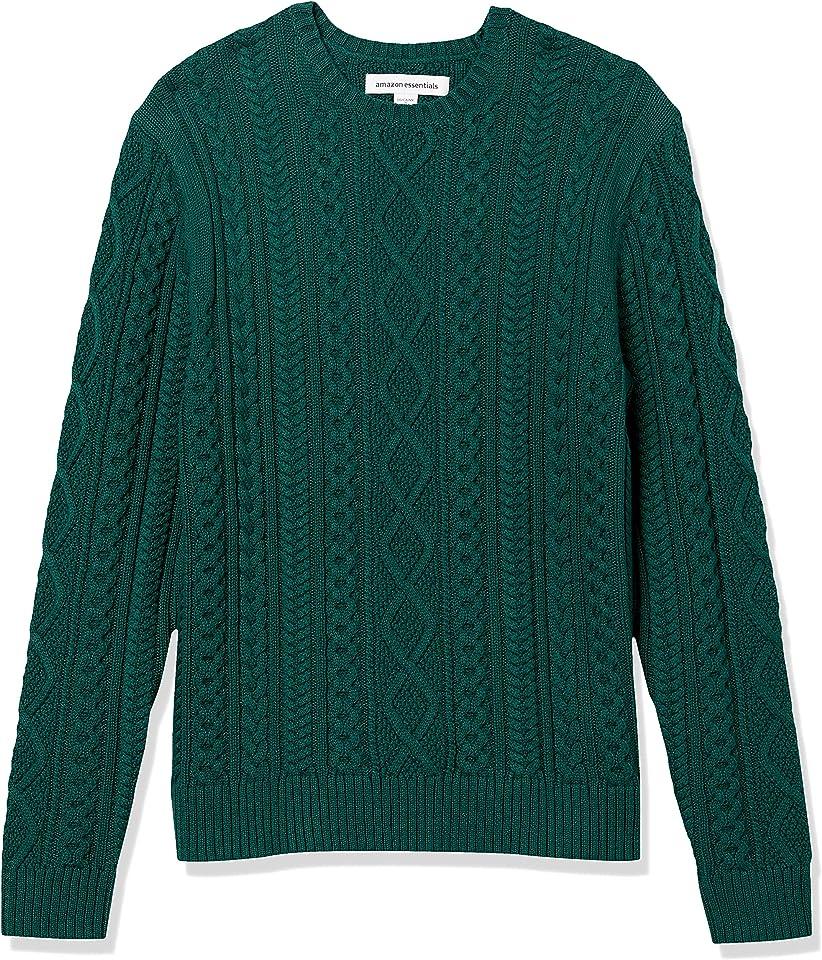 Men's Long-Sleeve 100% Cotton Fisherman Cable Crewneck Sweater