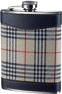 Premier Housewares Tartan Hip Flask, 8 oz - Cream
