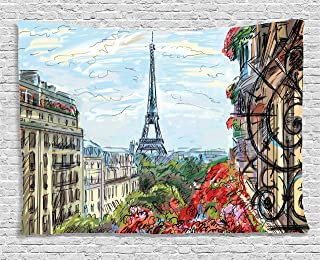 Ambesonne Paris City Decor Collection, Street in Paris Town Traffic Trees Downtown Urban Life Exterior Monument Scene, Bedroom Living Room Dorm Wall Hanging Tapestry, 60W X 40L Inch