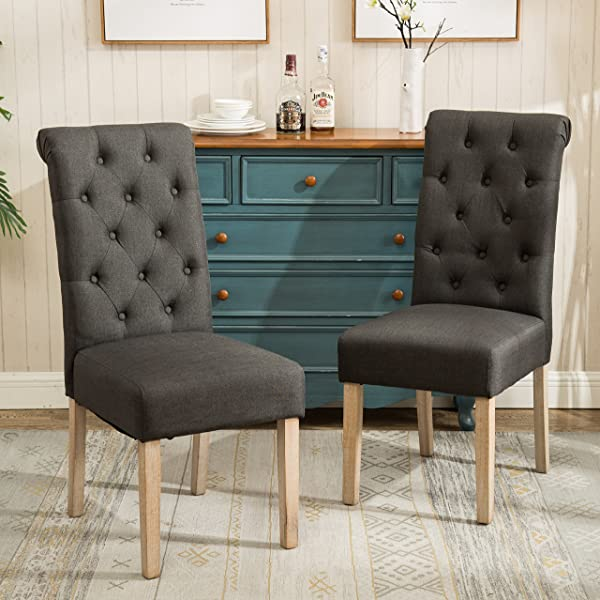 Roundhill Furniture C161CC Habit Solid Wood Tufted Parsons Charcoal Dining Chair Set Of 2
