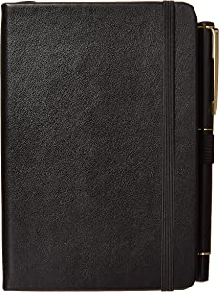 Pocket Size Notebook with Pen & Pouch ┃ Small College Ruled Leather Journal ┃ Mini Notepad with Reinforced Pen Holder, 2 Bookmarks, Elastic Closure & 150gsm Inner Pockets & 100gsm Thick Lined Paper