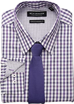 Dobby Plaid CVC Stretch Dress Shirt & Tie Set