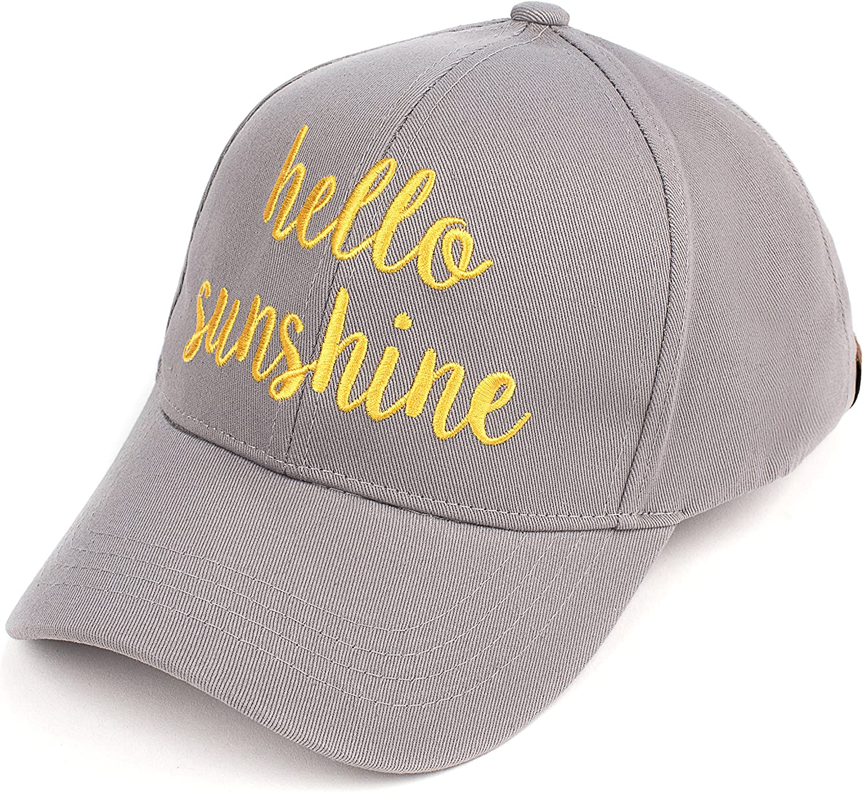 C.C Embroidered Lettering Cotton Baseball Cap (BA2017) (Grey Yellow, Hello Sunshine)