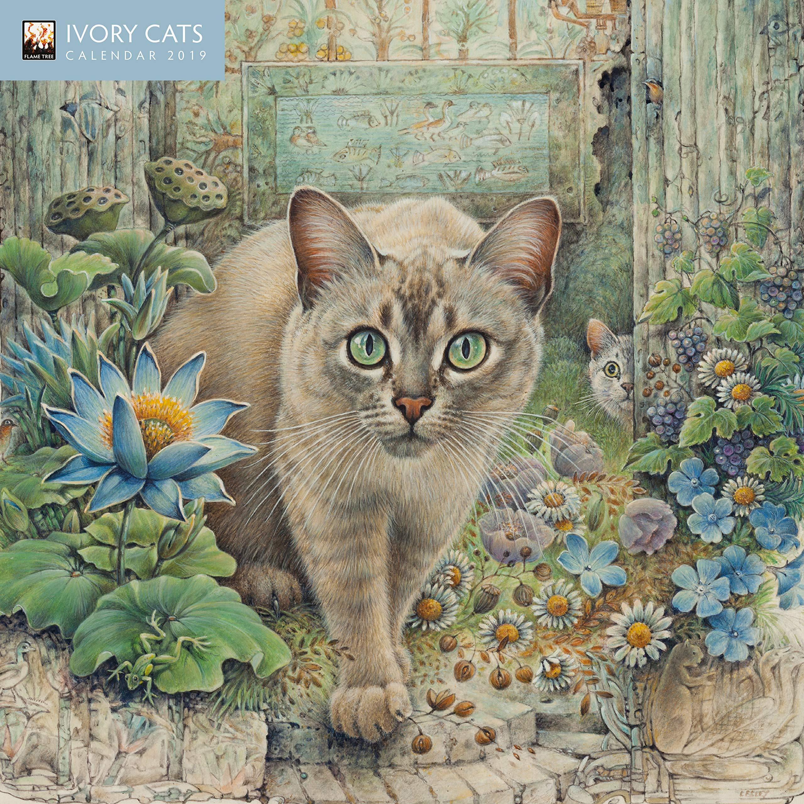 Mini calendario 2019 gatos en el arte Ivory (ft) – Pintura de gato – artista Lesley Anne Ivory + incluye un – Agenda de bolsillo 2019: Amazon.es: Oficina y papelería