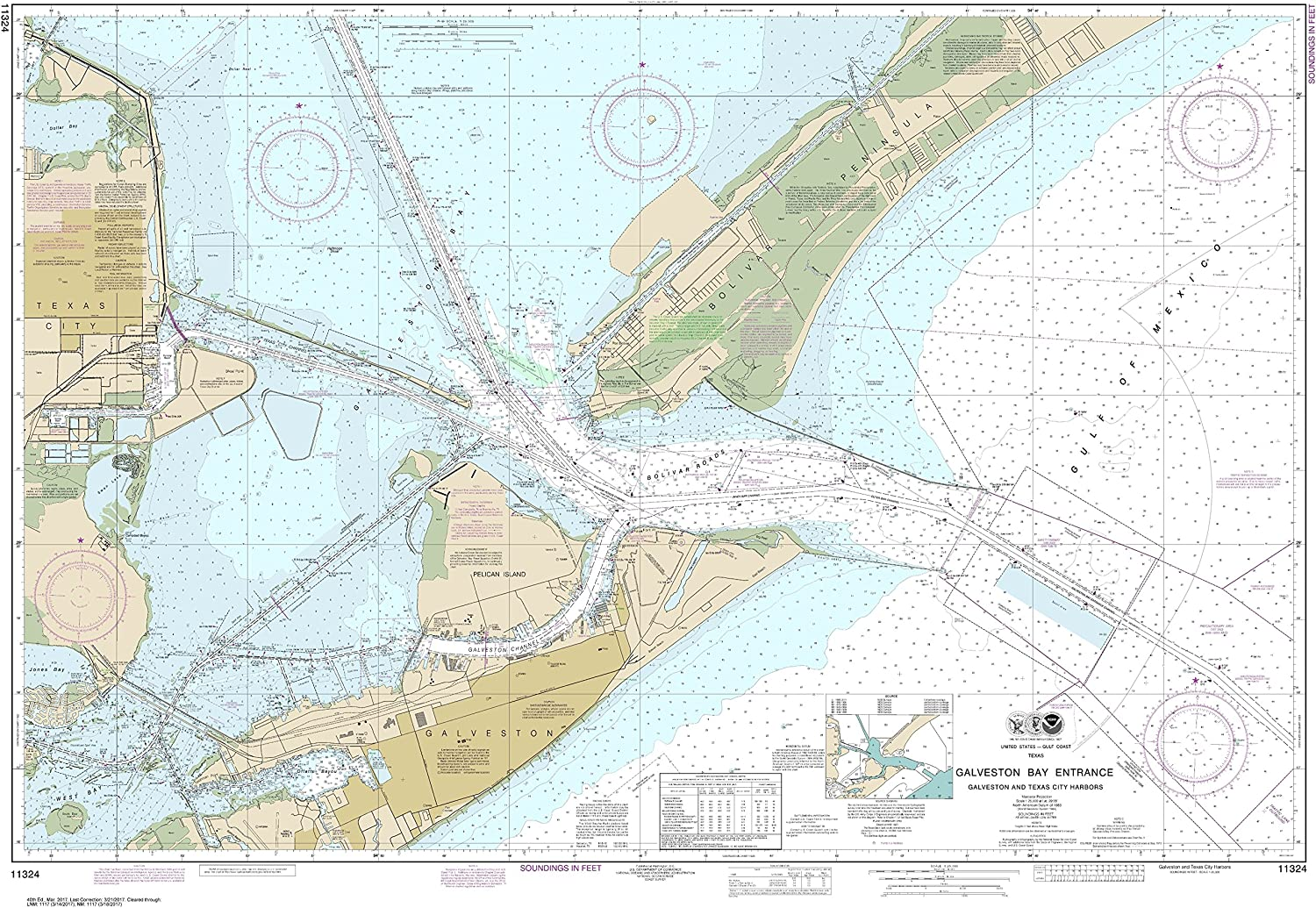 Noaa Chart 11324 Galveston Bay Entrance Galveston and Texas City Harbors  35.55  X 51.21  Paper Chart