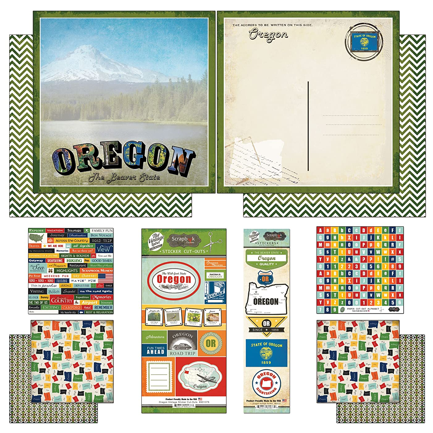 Scrapbook Customs Themed Paper and Stickers Scrapbook Kit, Oregon Vintage