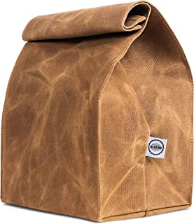 Reusable Lunch Bag from 16 oz Waxed Canvas by ASEBBO, Brown Paper Bag Improved, Lunch Box for Men, Women, Durable, Thick and Waterproof, with Reinforced Stitching, Easy to Carry at Work and School