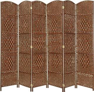 MyGift 6-Panel Diamond Design Woven Room Divider, Large Semi-Private Partition Screen