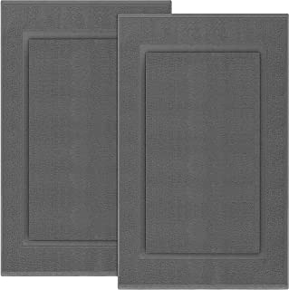 Utopia Towels Cotton Banded Bath Mats 2 Pack, [Not a Bathroom Rug], 21 x 34 Inches, Dark Grey