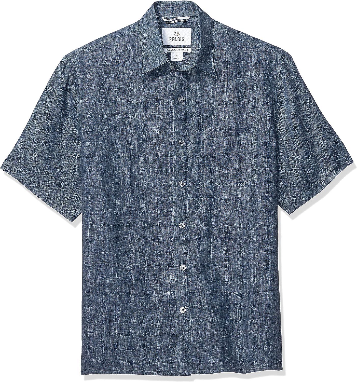 Marca Amazon - 28 Palms – Camisa de lino 100 % de manga corta de corte holgado para hombre