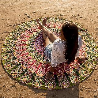Folkulture Round Beach-Towel, Beach-Blanket, Mandala-Tapestry, Tablecloth, Cotton, Green/Mustard, 72 inches