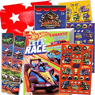 Hot Wheels Coloring Book and Stickers Gift Set - Bundle Includes Gigantic 192 pg Coloring Book with Stickers in Specialty Gift Bag