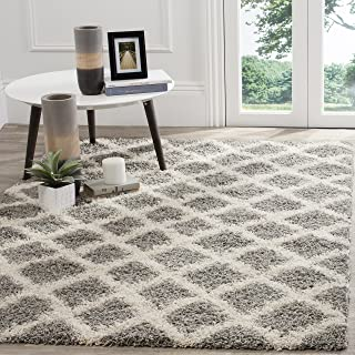 Safavieh Dallas Shag Collection SGDS258G Grey and Ivory Area Rug (8' x 10')