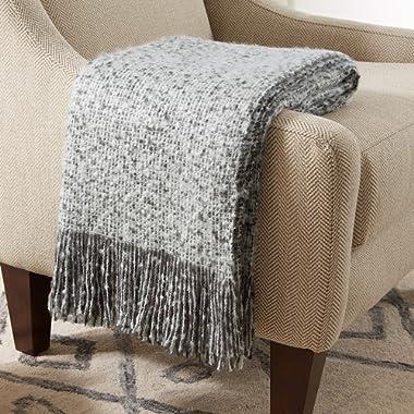Amazon Brand – Stone & Beam Oversized Stripe Brushed Weave Throw Blanket, 60  x 80 , Grey / White