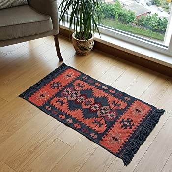 Secret Sea Collection Modern Bohemian Style Small Area Rug, 2' x 3' ft, Cotton, Washable, Reversible (Charcoal Grey-Orange)