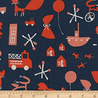 Cotton + Steel Navy Christian Robinson Spectacle Commotion Fabric by The Yard