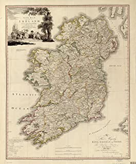 Ireland Antique Map Wall Art 24 x 29. Great Irish Gift For Any Lover of Gaelic Culture & History. Classic, Incredibly Detailed Poster is Beautifully Printed on Premium Paper With UV Resistant Ink