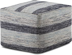 Simpli Home AXCPF-07 Clay Transitional Square Pouf in Patterned Blue Melange Cotton