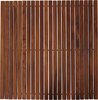 """Bare Decor Fuji String Spa Shower Mat in Solid Teak Wood Oiled Finish. XL Square 30"""" x 30"""""""