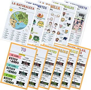Spanish Verbs & Beginner Vocabulary Classroom Variety Posters, Set of 11, 12 x 18 inches (Set E)